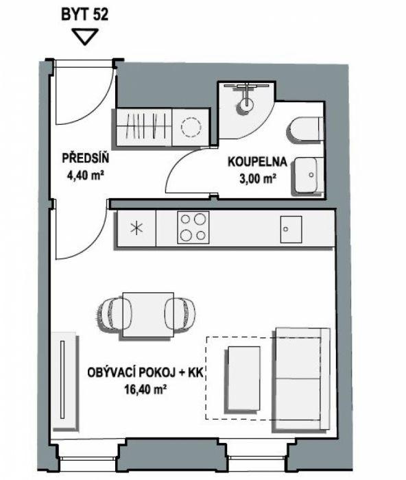 Půdní byt 1+kk