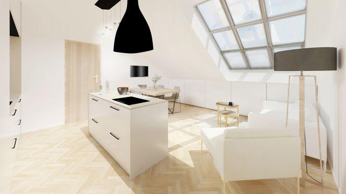Půdní byt 2+kk, plocha 42 m², Čajkovského 25, Praha 3 - Žižkov