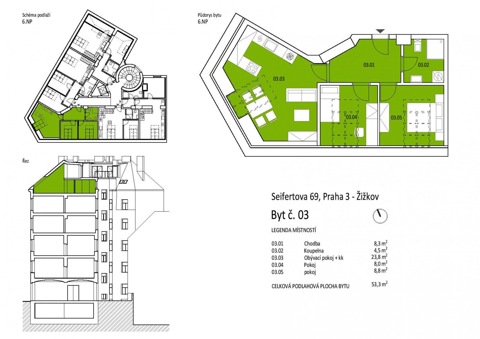 Půdní byt 3+kk, plocha 53 m², Seifertova, Praha 3 - Žižkov