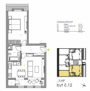 Půdní byt 2+kk Praha 5 Smíchov