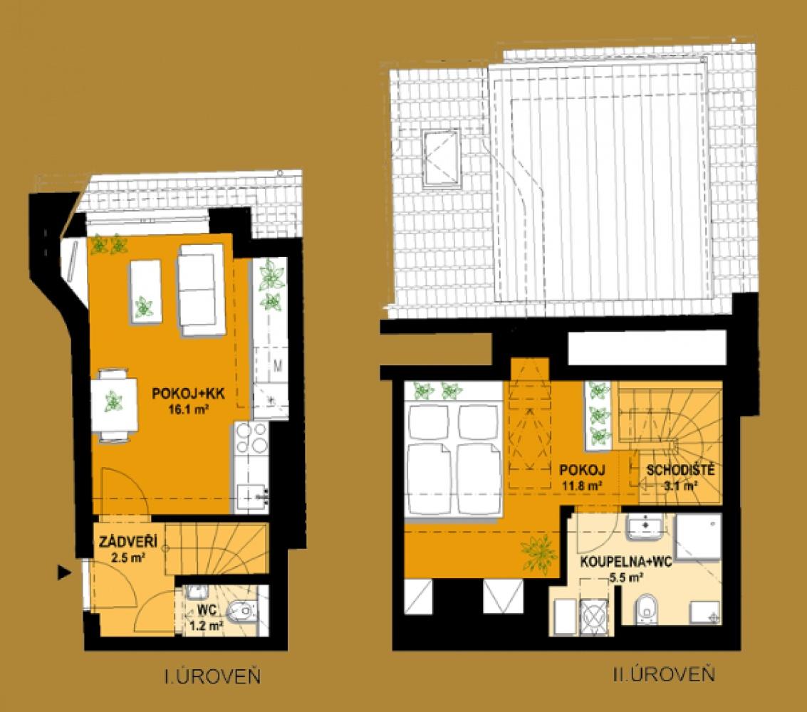 Půdorys - Půdní byt 2+kk, plocha 46 m², ulice Vratislavova, Praha 2 - Vyšehrad