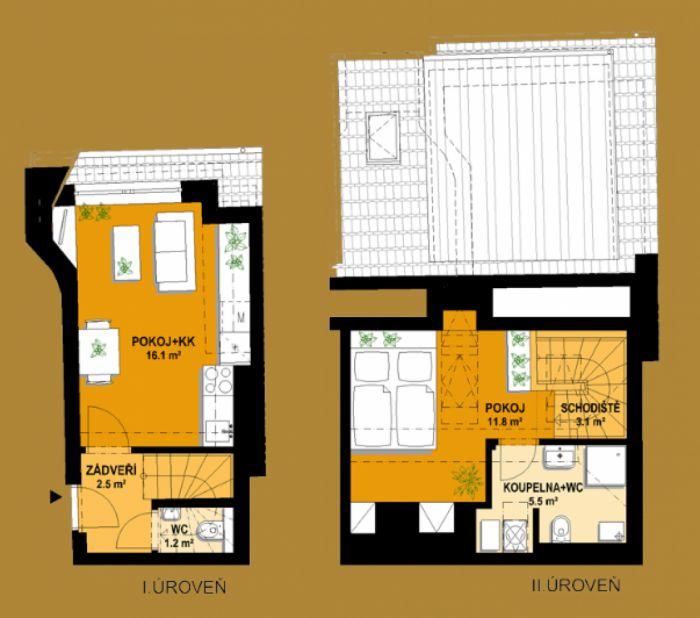 Půdní byt 2+kk, plocha 46 m², ulice Vratislavova, Praha 2 - Vyšehrad, cena 4 665 000 Kč | 9