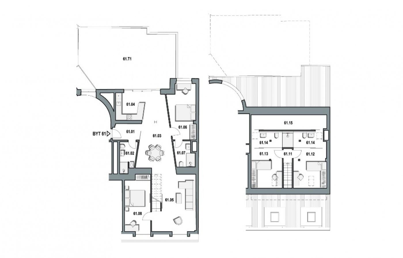 Půdorys - Půdní byt 5+kk, plocha 225 m², ulice Wuchterlova, Praha 6 - Dejvice