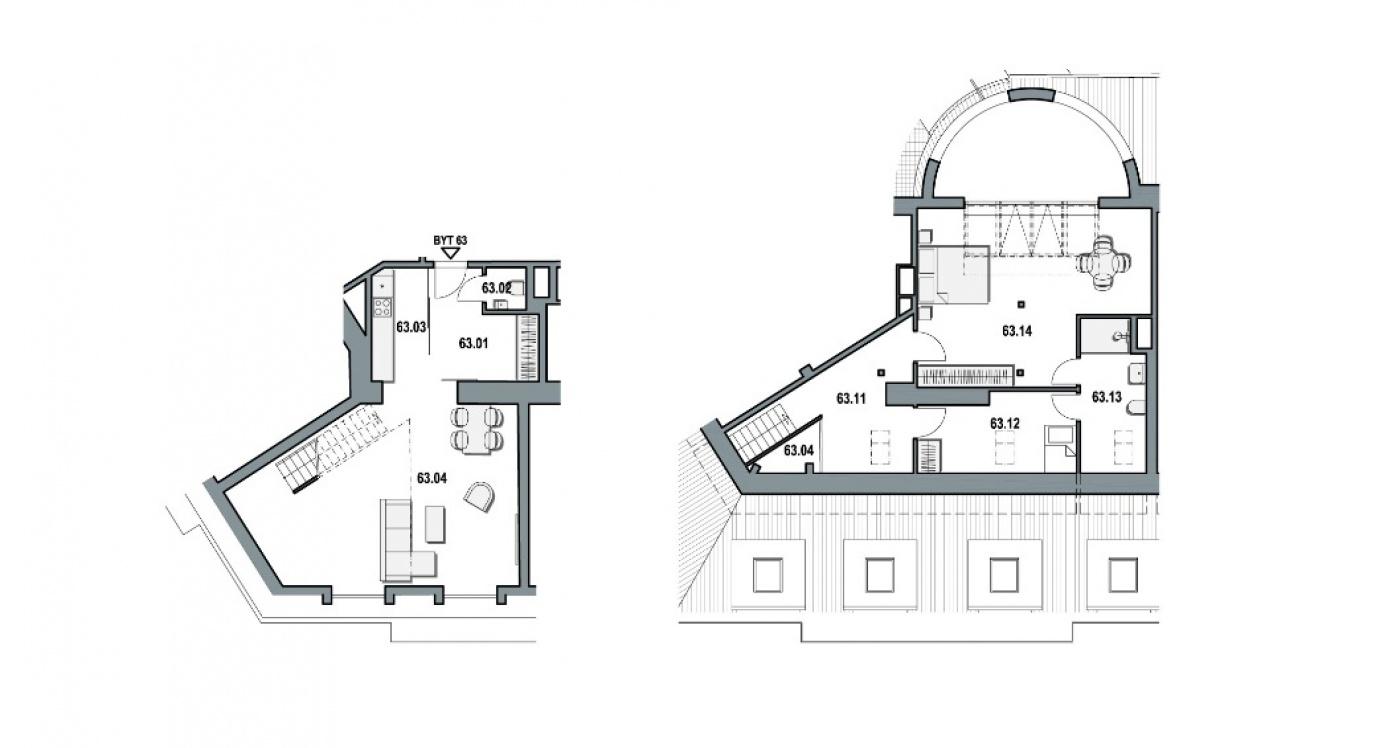 Půdorys - Půdní byt 3+kk, plocha 132 m², ulice Wuchterlova, Praha 6 - Dejvice