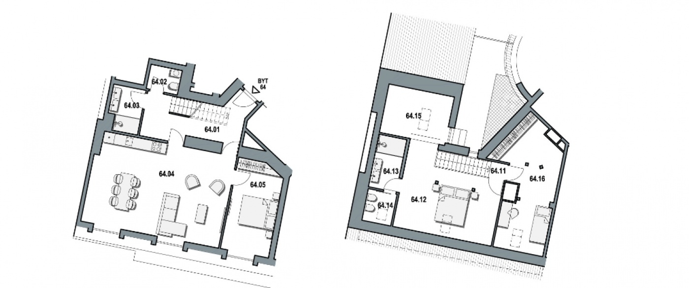 Půdorys - Půdní byt 5+kk, plocha 168 m², ulice Wuchterlova, Praha 6 - Dejvice