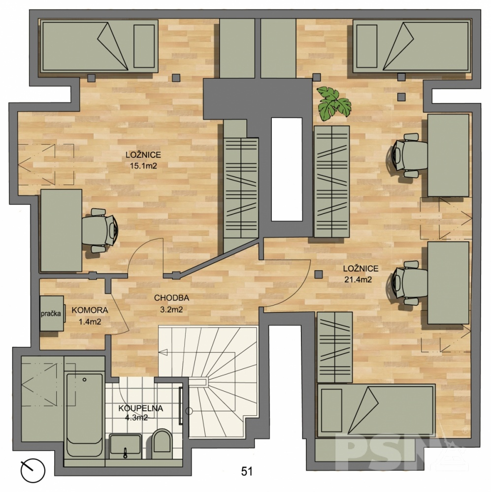 Půdorys - Půdní byt 4+kk, plocha 145 m², ulice Hradeckých, Praha 4 - Nusle