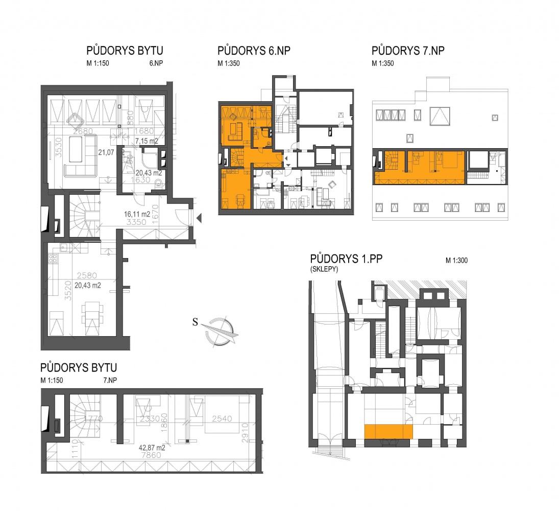 Půdorys - Půdní byt 3+kk, plocha 127 m², ulice Londýnská, Praha 2 - Vinohrady