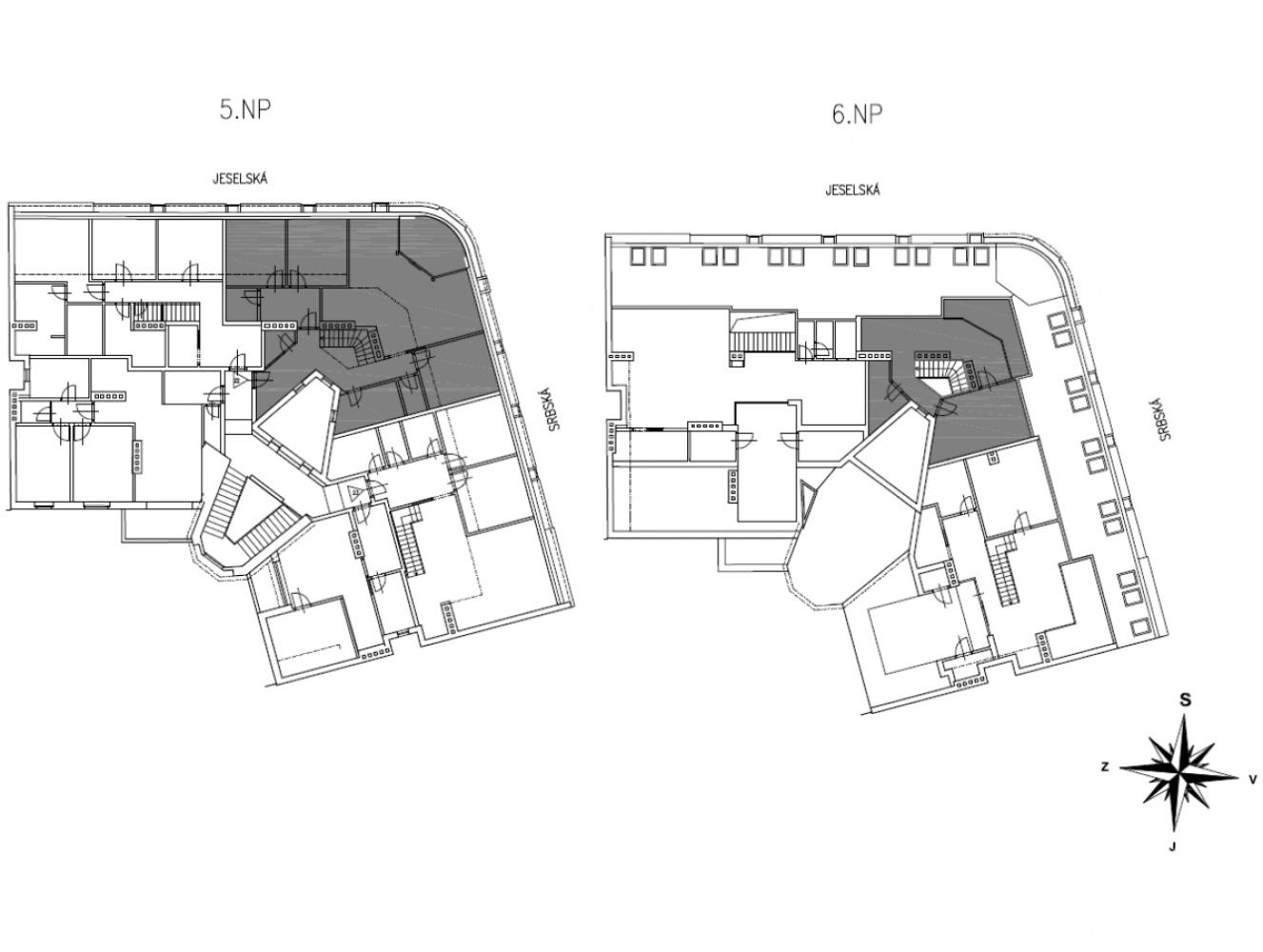 Půdorys - Půdní byt 5+kk, plocha 158 m², ulice Srbská, Praha 6 - Dejvice