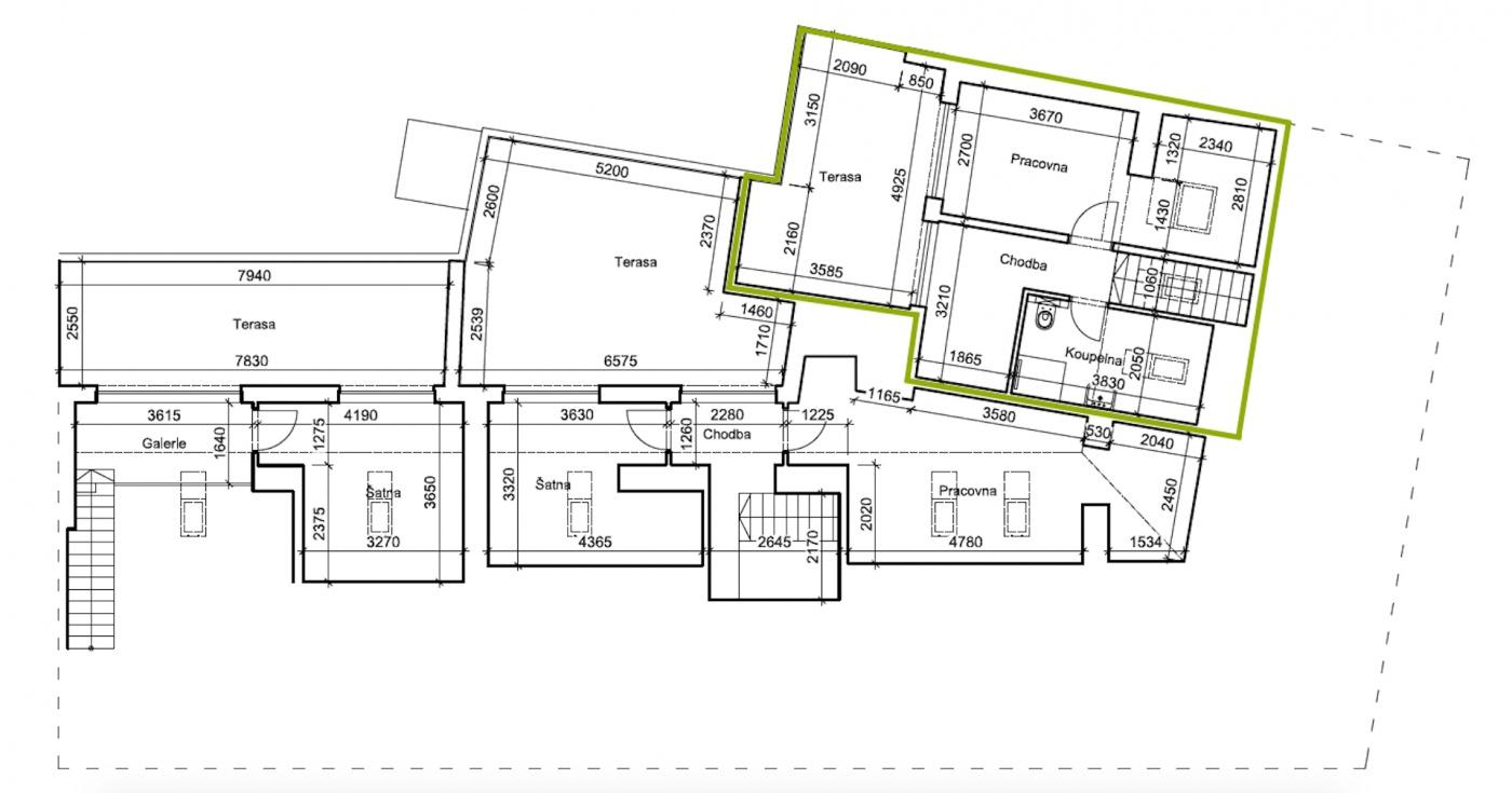 Půdorys - Půdní byt 4+kk, plocha 130 m², ulice Wenzigova, Praha 2 - Vinohrady