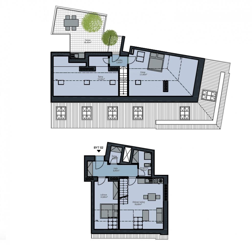 Půdorys - Půdní byt 3+kk, plocha 118 m², ulice Wenzigova, Praha 2 - Vinohrady