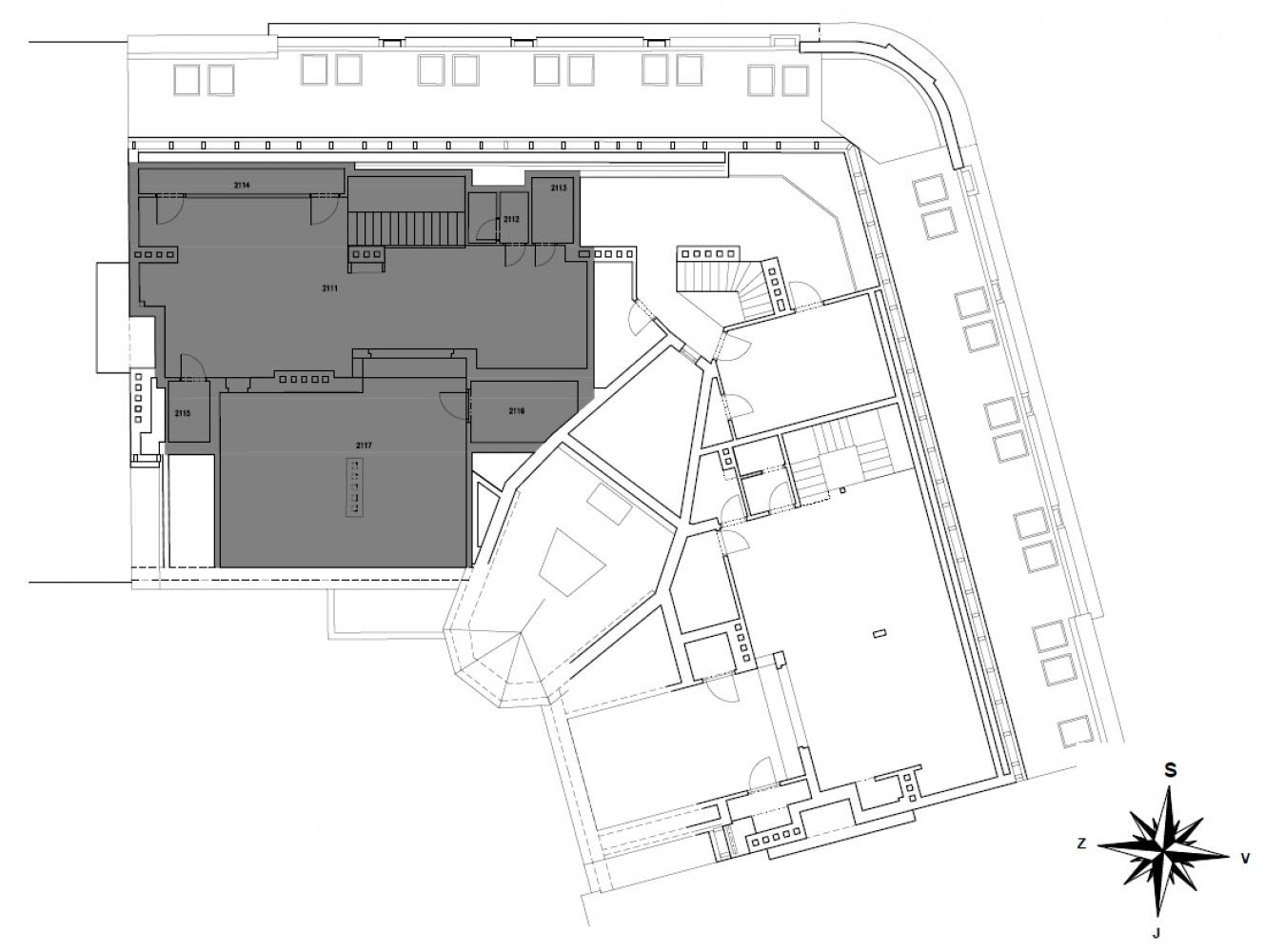 Půdorys - Půdní byt 4+kk, plocha 196 m², ulice Srbská, Praha 6 - Dejvice