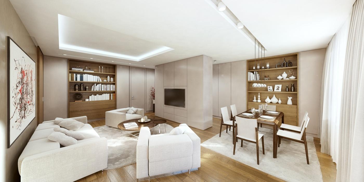 Vizualizace jednoho z bytů - Půdní byt 4+kk, plocha 139 m², ulice Na Zderaze, Praha 2 - Nové Město | 3
