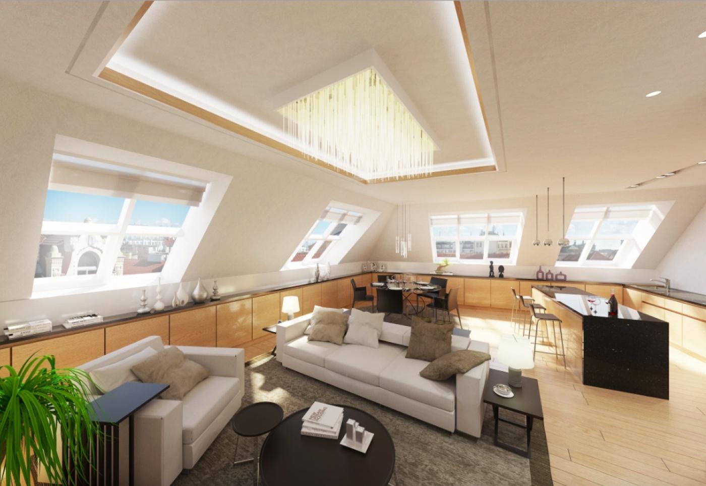 Vizualizace jednoho z bytů - Půdní byt 4+kk, plocha 139 m², ulice Na Zderaze, Praha 2 - Nové Město | 1