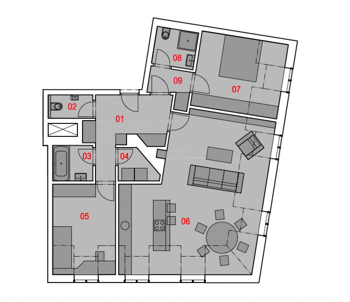 Půdorys - Půdní byt 3+kk, plocha 104 m², ulice Na Zderaze, Praha 2 - Nové Město