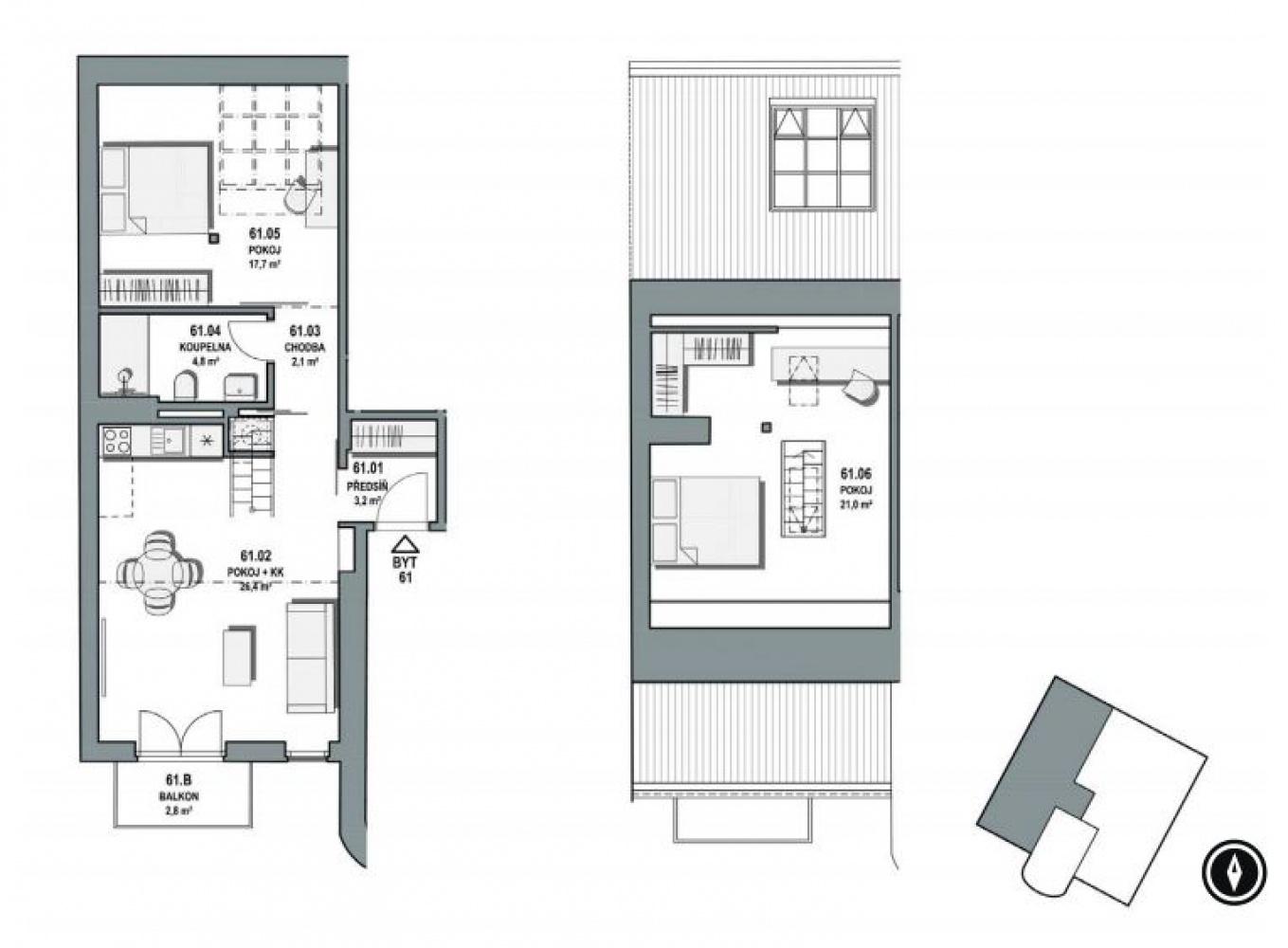 Půdorys - Půdní byt 3+kk, plocha 80 m², ulice Orelská, Praha 10 - Vršovice