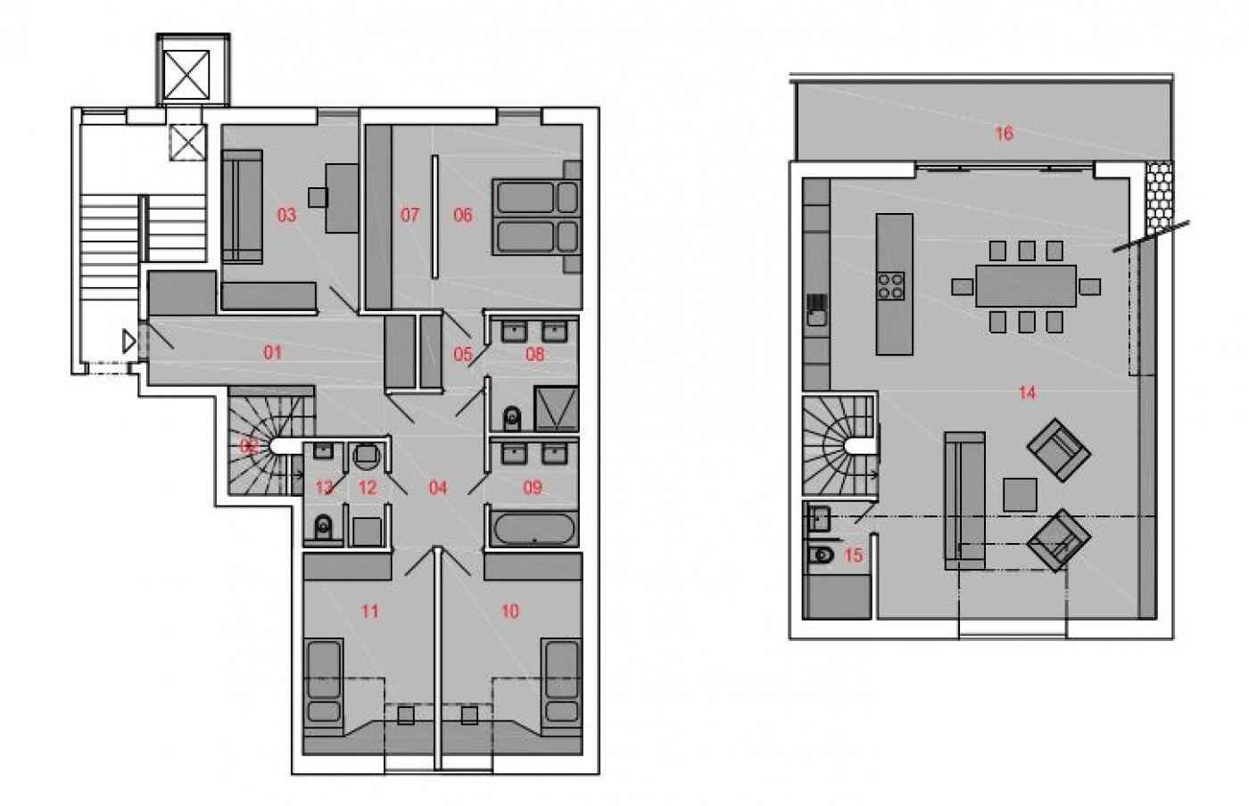 Půdorys - Půdní byt 5+kk, plocha 194 m², ulice Slezská, Praha 2 - Vinohrady