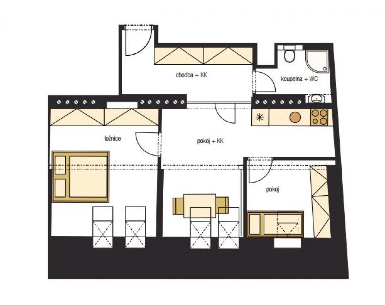Půdorys - Půdní byt 3+kk, plocha 62 m², ulice Horní, Praha 4 - Nusle