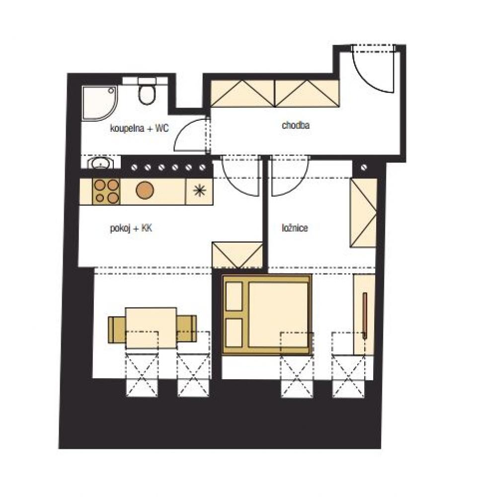 Půdorys - Půdní byt 2+kk, plocha 45 m², ulice Horní, Praha 4 - Nusle