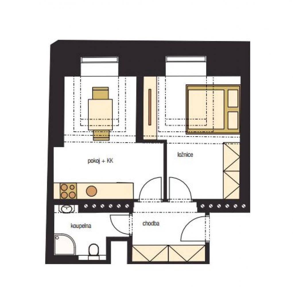 Půdorys - Půdní byt 2+kk, plocha 41 m², ulice Horní, Praha 4 - Nusle