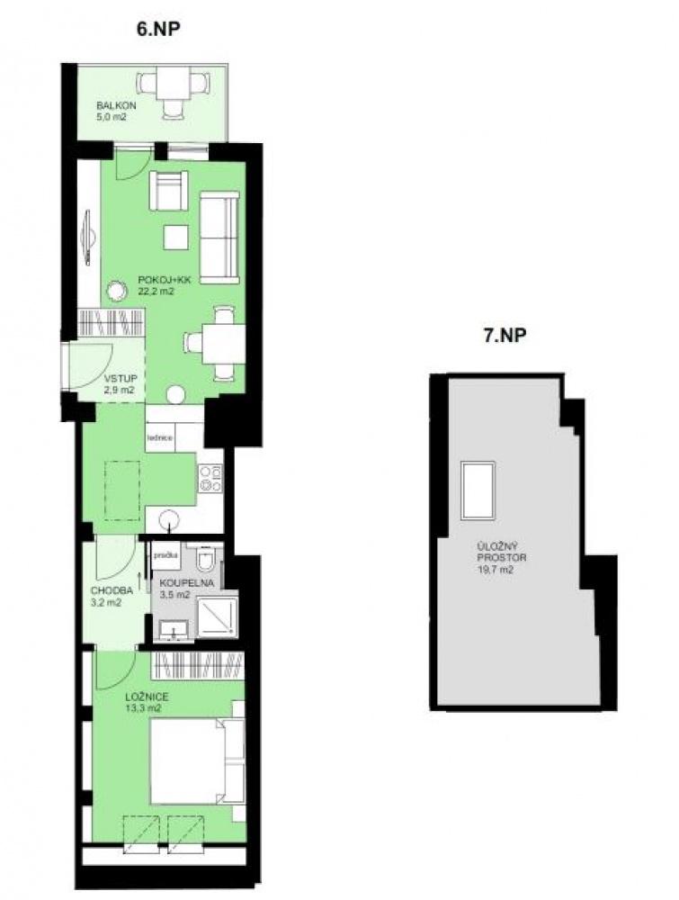 Půdorys - Půdní byt 2+kk, plocha 74 m², ulice Korunovační, Praha 7 - Bubeneč