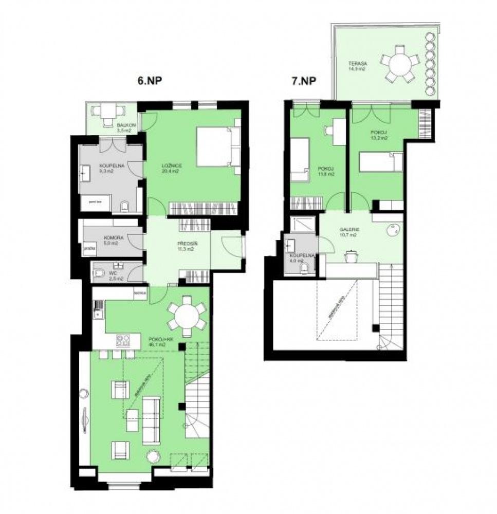 Půdorys - Půdní byt 4+kk, plocha 163 m², ulice Korunovační, Praha 7 - Bubeneč