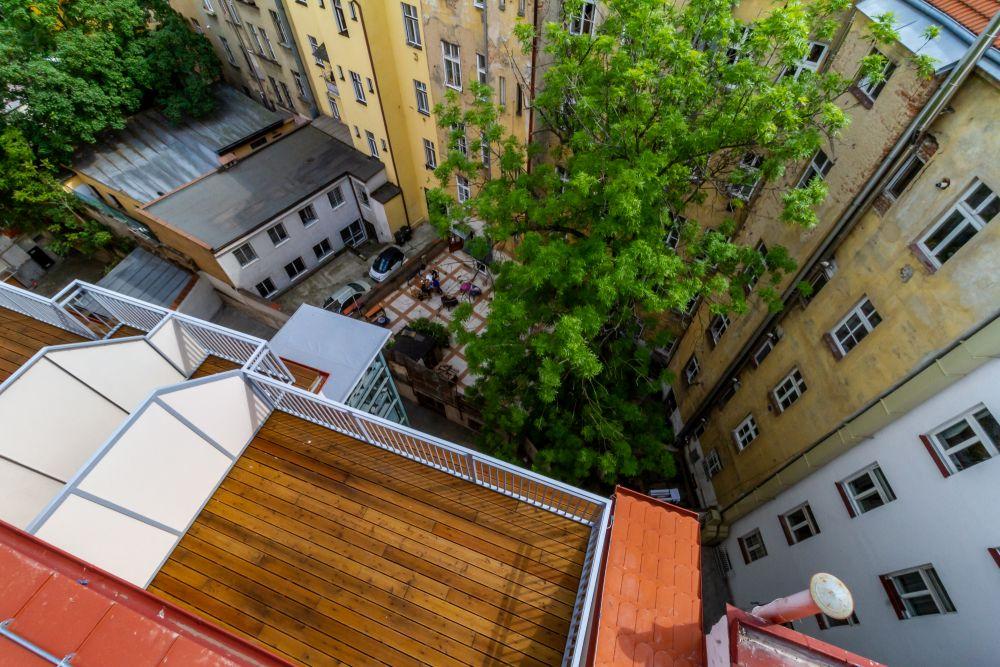 Pohled na terasu - developerský projekt Husitská, ulice Husitská, Praha 3 - Žižkov | 12