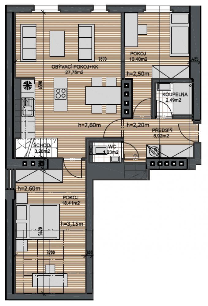 Půdorys - Půdní byt 4+kk, plocha 100 m², ulice Husitská, Praha 3 - Žižkov