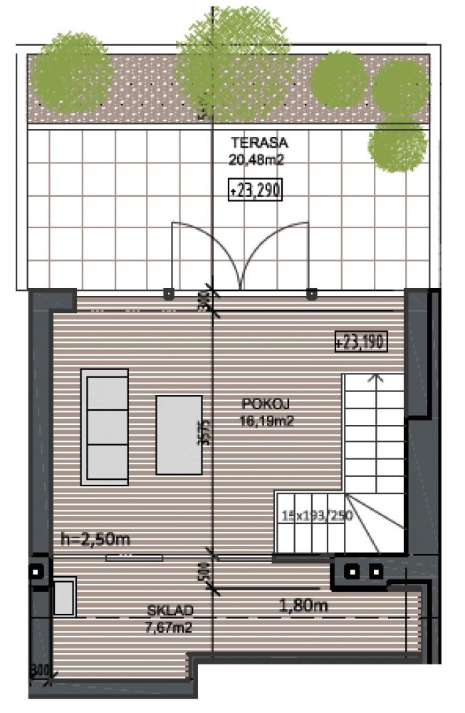 Půdorys - Půdní byt 3+kk, plocha 99 m², ulice Husitská, Praha 3 - Žižkov