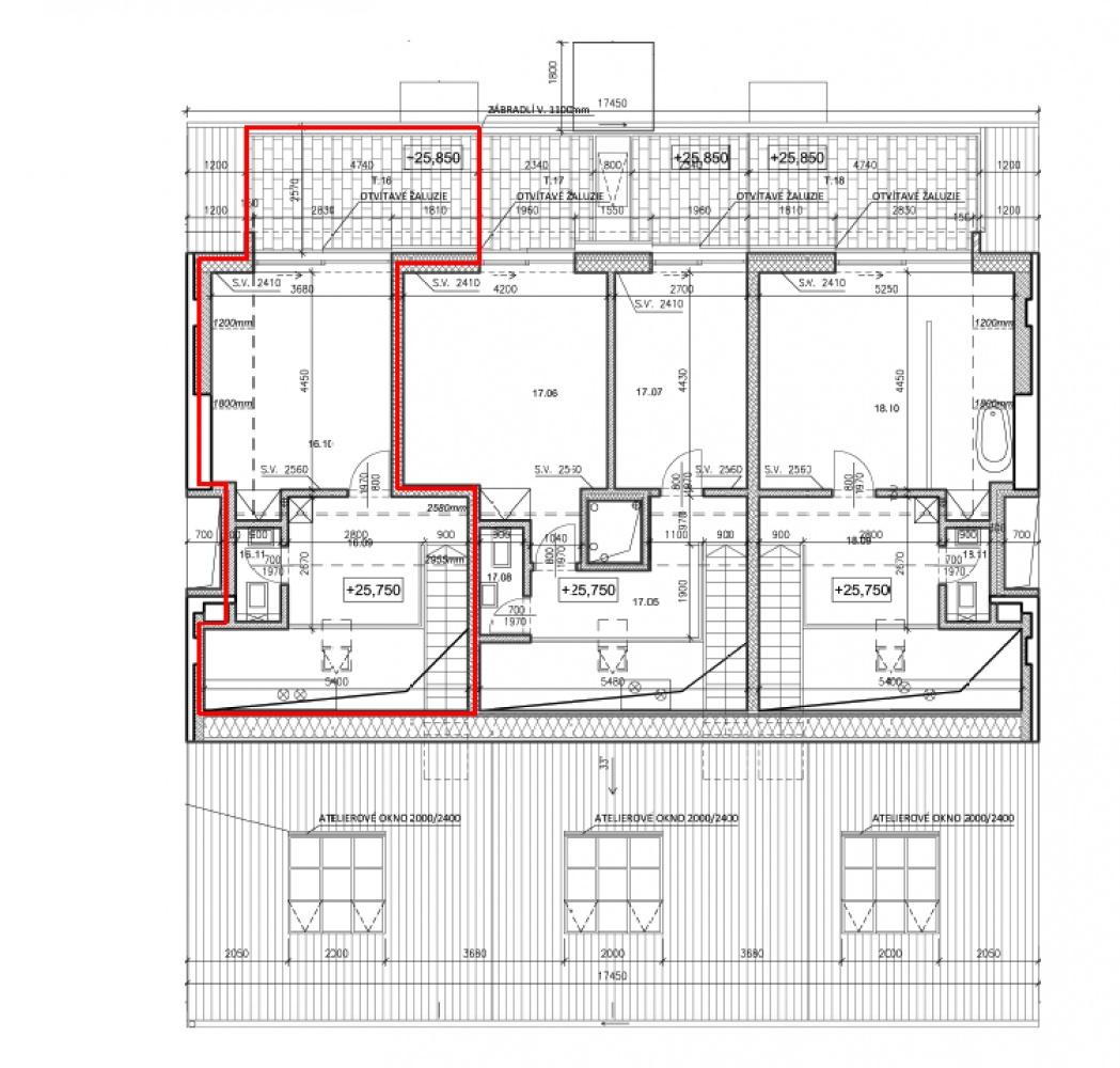 Půdorys - Půdní byt 4+kk, plocha 131 m², ulice Pernerova, Praha 8 - Karlín