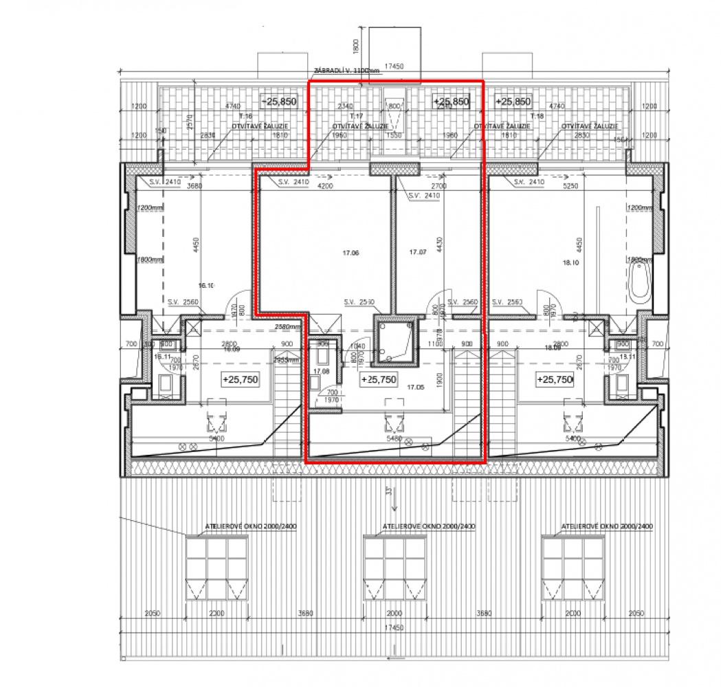 Půdorys - Půdní byt 3+kk, plocha 109 m², ulice Pernerova, Praha 8 - Karlín