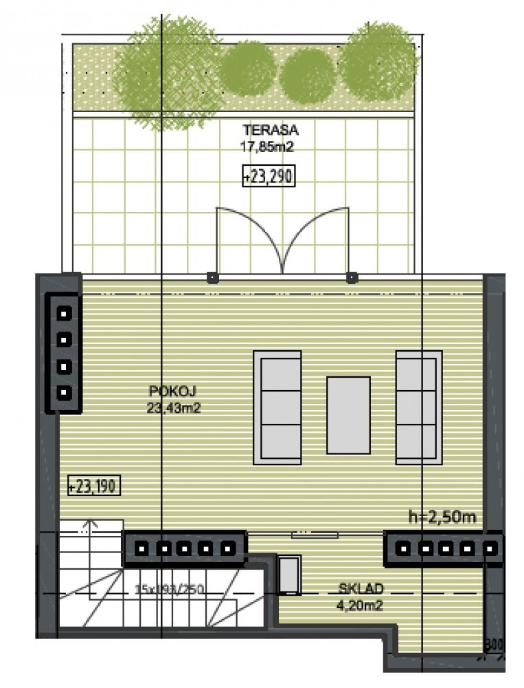 Půdorys - Půdní byt 3+kk, plocha 95 m², ulice Husitská, Praha 3 - Žižkov