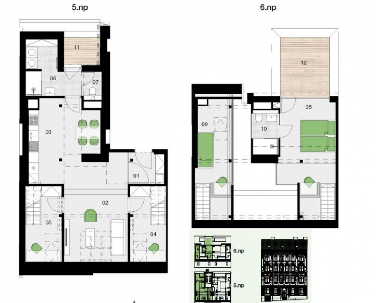 Půdorys - Půdní byt 3+kk, plocha 114 m², ulice Řehořova, Praha 3 - Žižkov