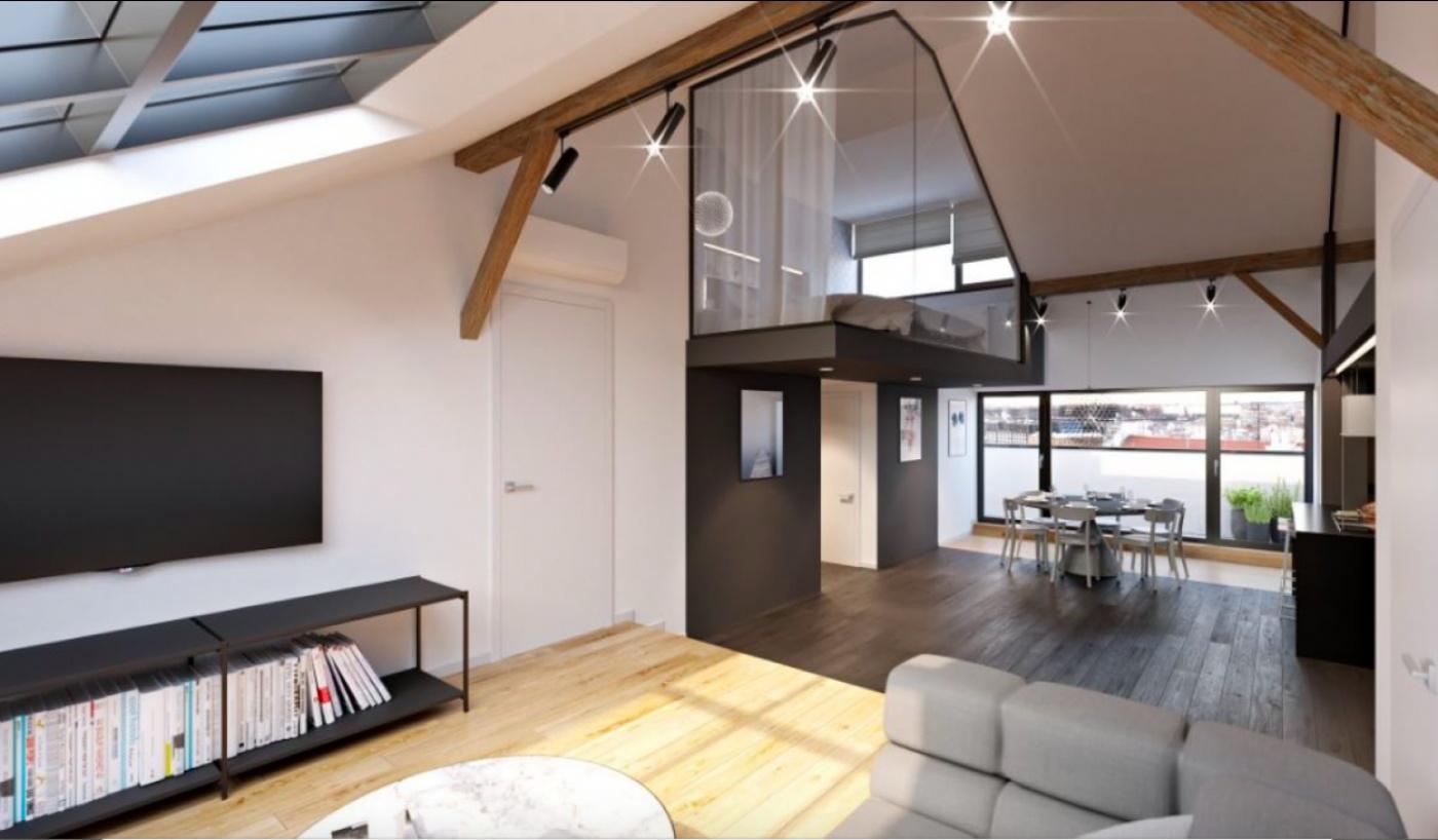 Půdní byt 3+kk, plocha 114 m², ulice Řehořova, Praha 3 - Žižkov   2
