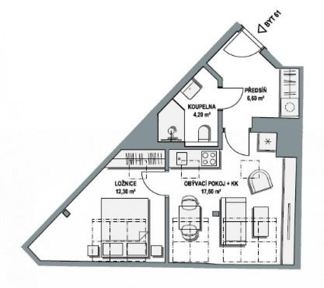 Půdorys - Půdní byt 2+kk, plocha 42 m², ulice Lihovarská, Praha 9 - Libeň