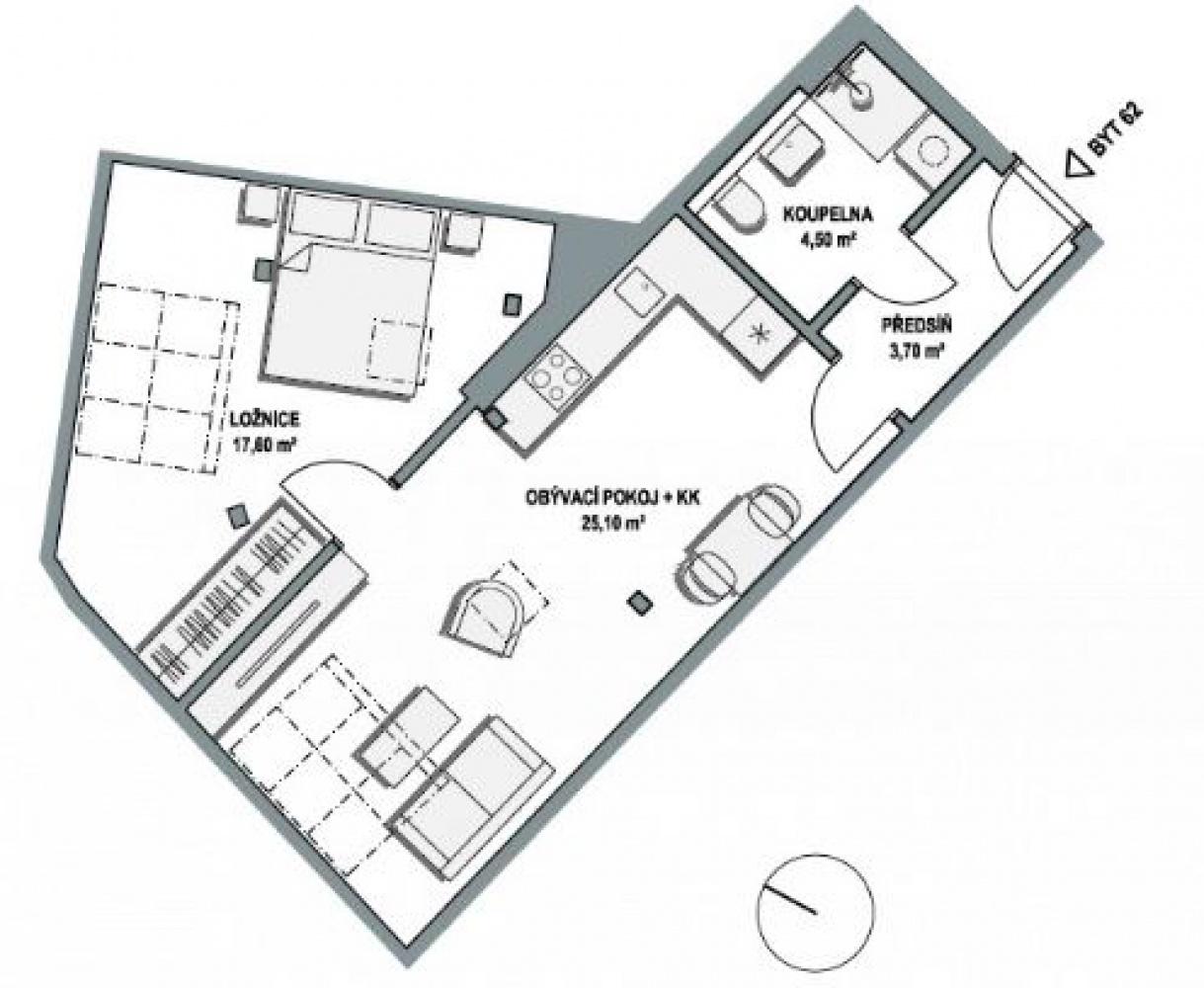 Půdorys - Půdní byt 2+kk, plocha 53 m², ulice Lihovarská, Praha 9 - Libeň