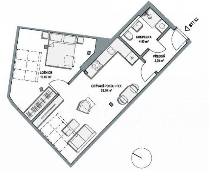 Půdní byt 2+kk, plocha 53 m², ulice Lihovarská, Praha 9 - Libeň, cena 5 397 000 Kč | 1