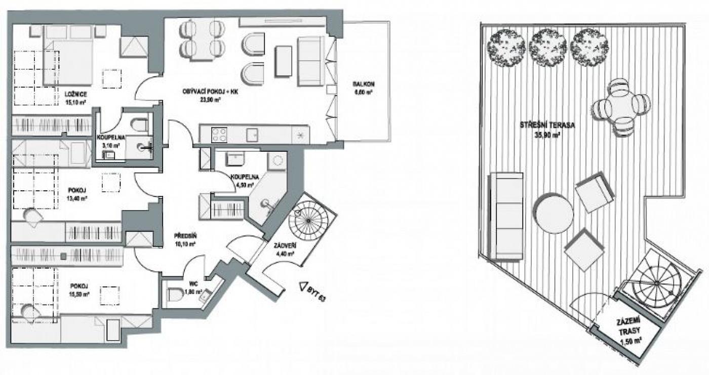 Půdorys - Půdní byt 4+kk, plocha 135 m², ulice Lihovarská, Praha 9 - Libeň