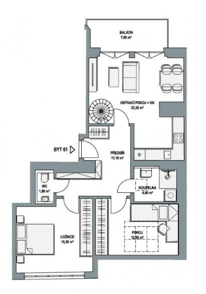 Půdorys - Půdní byt 3+kk, plocha 114 m², ulice Lihovarská, Praha 9 - Libeň