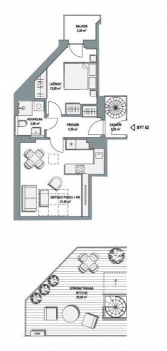 Půdní byt 2+kk, plocha 77 m², ulice Lihovarská, Praha 9 - Libeň, cena 6 117 000 Kč | 1