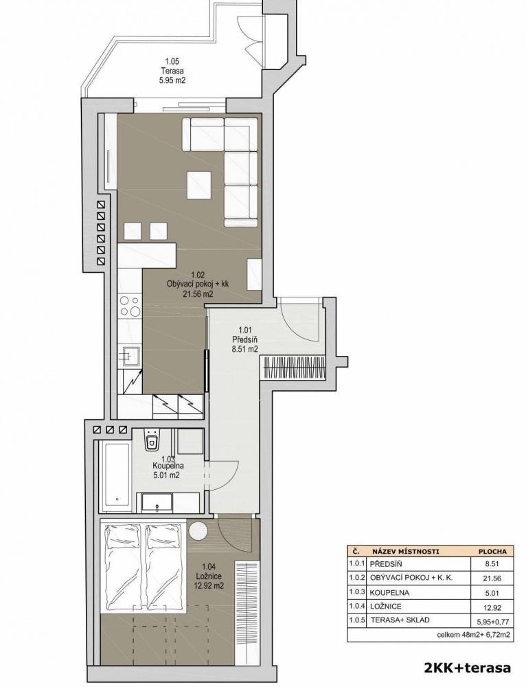 Půdorys - Půdní byt 2+kk, plocha 56 m², ulice Svatoslavova, Praha 4 - Nusle