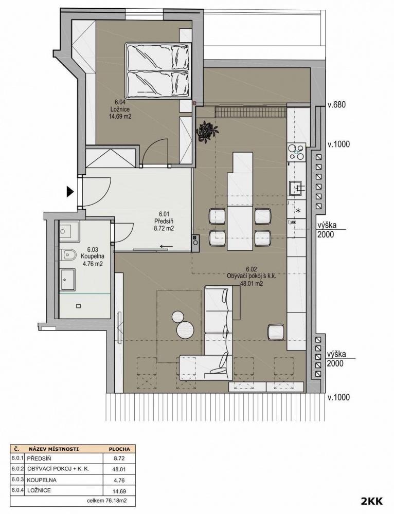 Půdorys - Půdní byt 2+kk, plocha 73 m², ulice Svatoslavova, Praha 4 - Nusle