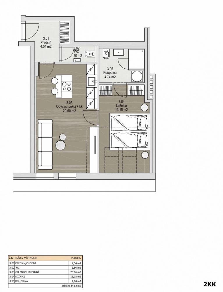 Půdorys - Půdní byt 2+kk, plocha 45 m², ulice Svatoslavova, Praha 4 - Nusle