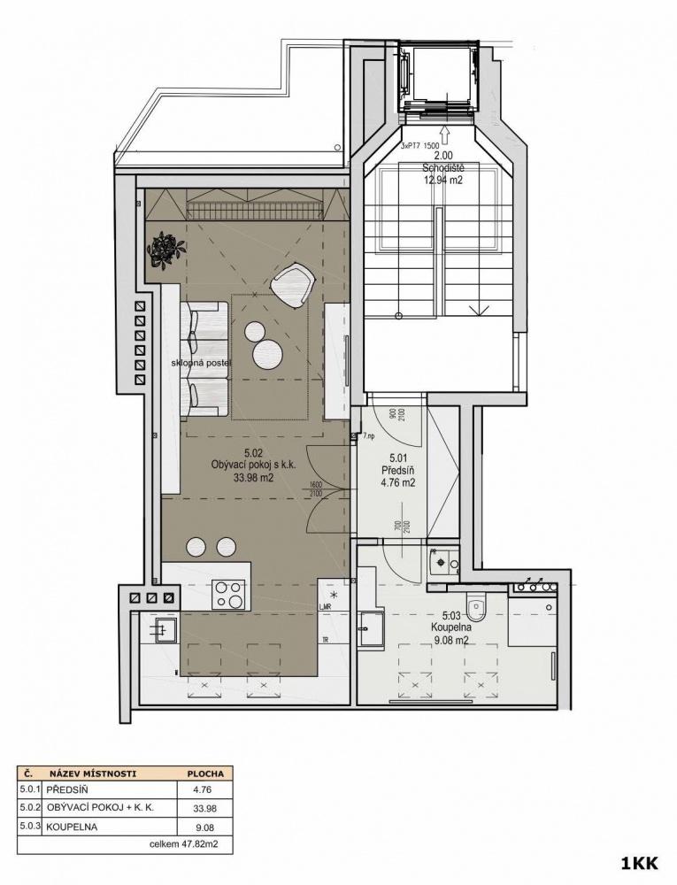 Půdorys - Půdní byt 1+kk, plocha 46 m², ulice Svatoslavova, Praha 4 - Nusle