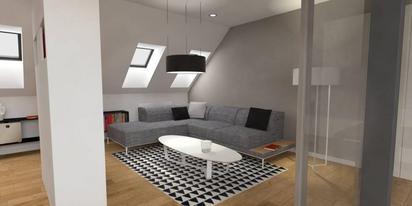 Půdní byt 1+kk, plocha 46 m², ulice Svatoslavova, Praha 4 - Nusle | 2
