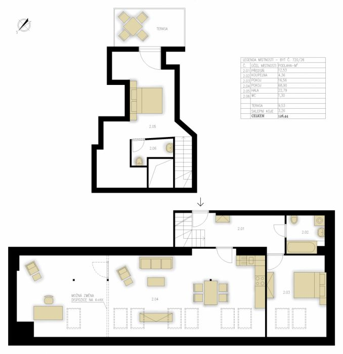 Půdní byt 3+kk, plocha 139 m², ulice Táborská, Praha 4 - Nusle, cena 9 390 000 Kč | 26