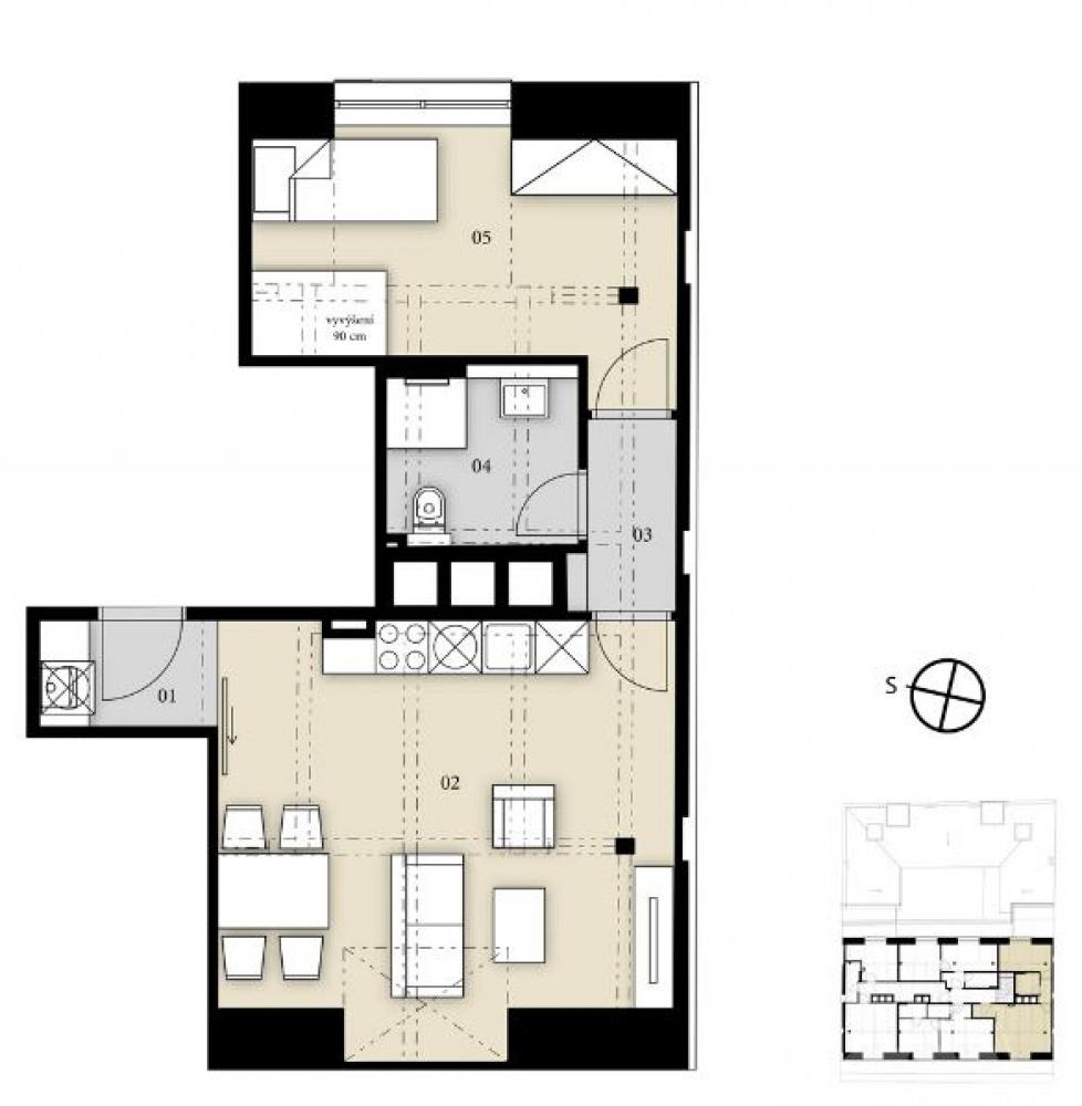 Půdorys - Půdní byt 2+kk, plocha 46 m², ulice Prvního pluku, Praha 8 - Karlín