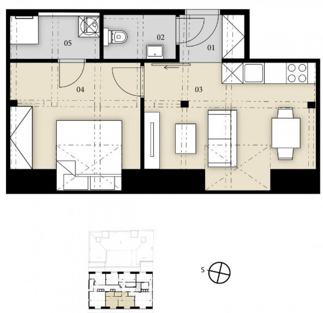 Půdorys - Půdní byt 2+kk, plocha 38 m², ulice Prvního pluku, Praha 8 - Karlín