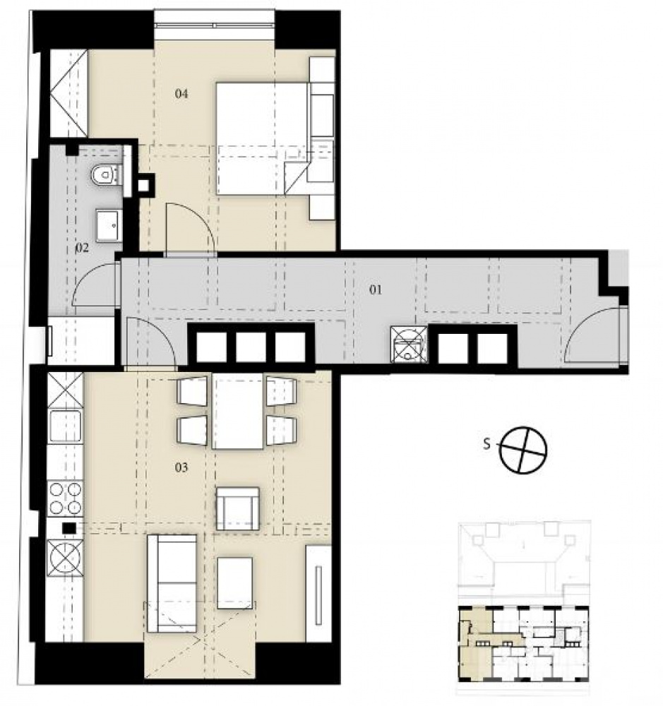 Půdorys - Půdní byt 2+kk, plocha 53 m², ulice Prvního pluku, Praha 8 - Karlín