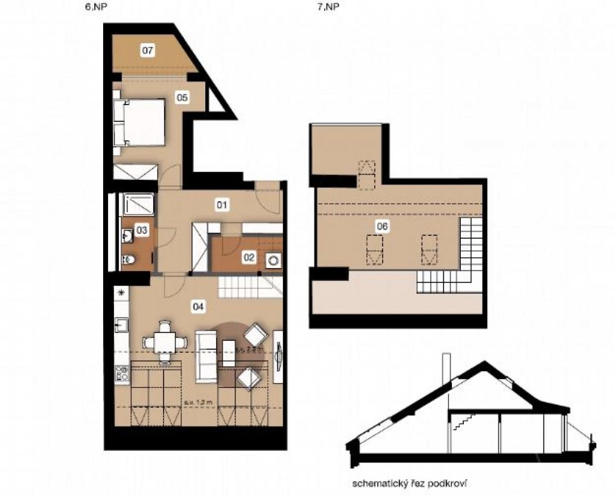 Půdorys - Půdní byt 3+kk, plocha 100 m², ulice Na Spojce, Praha 10 - Vršovice