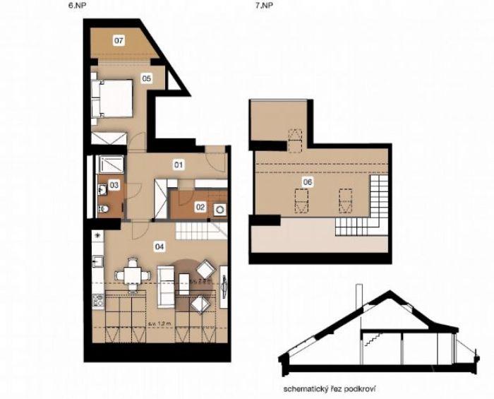 Půdní byt 3+kk, plocha 100 m², ulice Na Spojce, Praha 10 - Vršovice, cena 8 237 000 Kč | 1